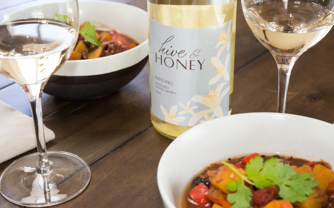 Butternut Squash Chipotle Cocoa Stew with Hive & Honey Riesling