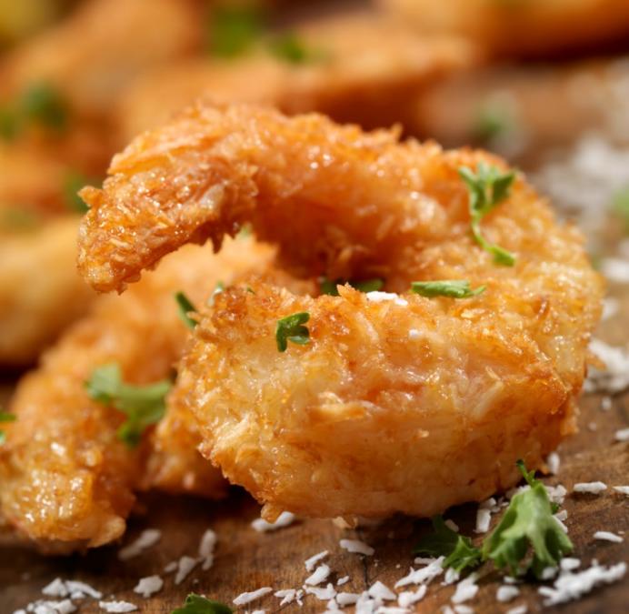 Coconut Shrimp + Hive & Honey Gewürztraminer